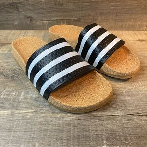 Adidas Adilette Cork Slides Black White